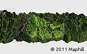 Satellite Panoramic Map of Yuexi, darken