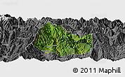 Satellite Panoramic Map of Yuexi, desaturated