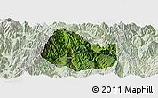 Satellite Panoramic Map of Yuexi, lighten