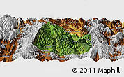 Satellite Panoramic Map of Yuexi, physical outside