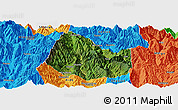 Satellite Panoramic Map of Yuexi, political outside