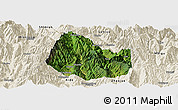 Satellite Panoramic Map of Yuexi, shaded relief outside