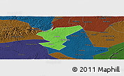 Political Panoramic Map of Zigong Shiqu, darken