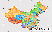 Political Simple Map of China, cropped outside