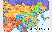 Political Simple Map of China, political shades outside