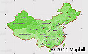 Political Shades Simple Map of China, cropped outside