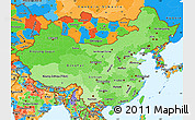 Political Shades Simple Map of China, political outside