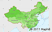 Political Shades Simple Map of China, single color outside