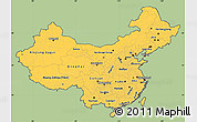 Savanna Style Simple Map of China, cropped outside