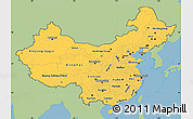 Savanna Style Simple Map of China, single color outside