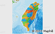Political 3D Map of Taiwan
