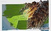 Physical Panoramic Map of Gaoxiong, darken