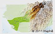Physical Panoramic Map of Gaoxiong, lighten