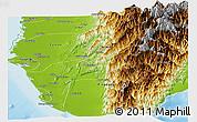 Physical Panoramic Map of Gaoxiong