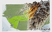 Physical Panoramic Map of Gaoxiong, semi-desaturated