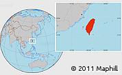 Gray Location Map of Taiwan