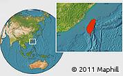 Satellite Location Map of Taiwan