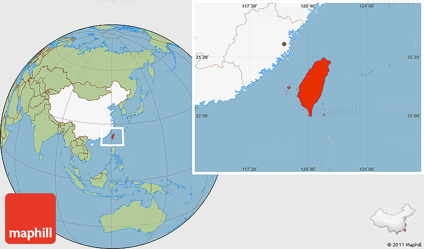 Savanna Style Location Map of Taiwan highlighted country