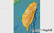 Political Shades Map of Taiwan, satellite outside