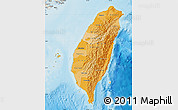 Political Shades Map of Taiwan, shaded relief outside