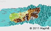 Physical Panoramic Map of Nantou, political outside
