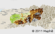 Physical Panoramic Map of Nantou, shaded relief outside
