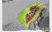 Physical Panoramic Map of Taiwan, darken, desaturated