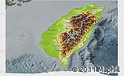 Physical Panoramic Map of Taiwan, darken, semi-desaturated