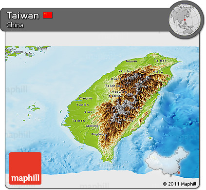 Physical Panoramic Map of Taiwan