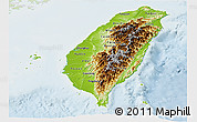Physical Panoramic Map of Taiwan, lighten