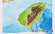 Physical Panoramic Map of Taiwan, political shades outside