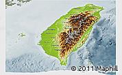 Physical Panoramic Map of Taiwan, semi-desaturated