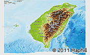 Physical Panoramic Map of Taiwan, shaded relief outside