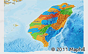 Political Panoramic Map of Taiwan, political shades outside
