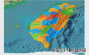 Political Panoramic Map of Taiwan, satellite outside
