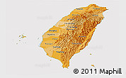 Political Shades Panoramic Map of Taiwan, cropped outside