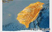 Political Shades Panoramic Map of Taiwan, darken