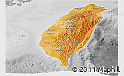 Political Shades Panoramic Map of Taiwan, desaturated
