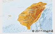 Political Shades Panoramic Map of Taiwan, lighten