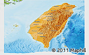 Political Shades Panoramic Map of Taiwan, physical outside