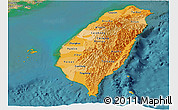 Political Shades Panoramic Map of Taiwan, satellite outside