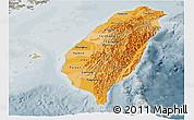 Political Shades Panoramic Map of Taiwan, semi-desaturated