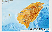 Political Shades Panoramic Map of Taiwan, shaded relief outside