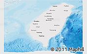 Political Shades Panoramic Map of Taiwan, single color outside