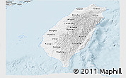 Silver Style Panoramic Map of Taiwan
