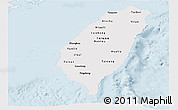 Silver Style Panoramic Map of Taiwan, single color outside