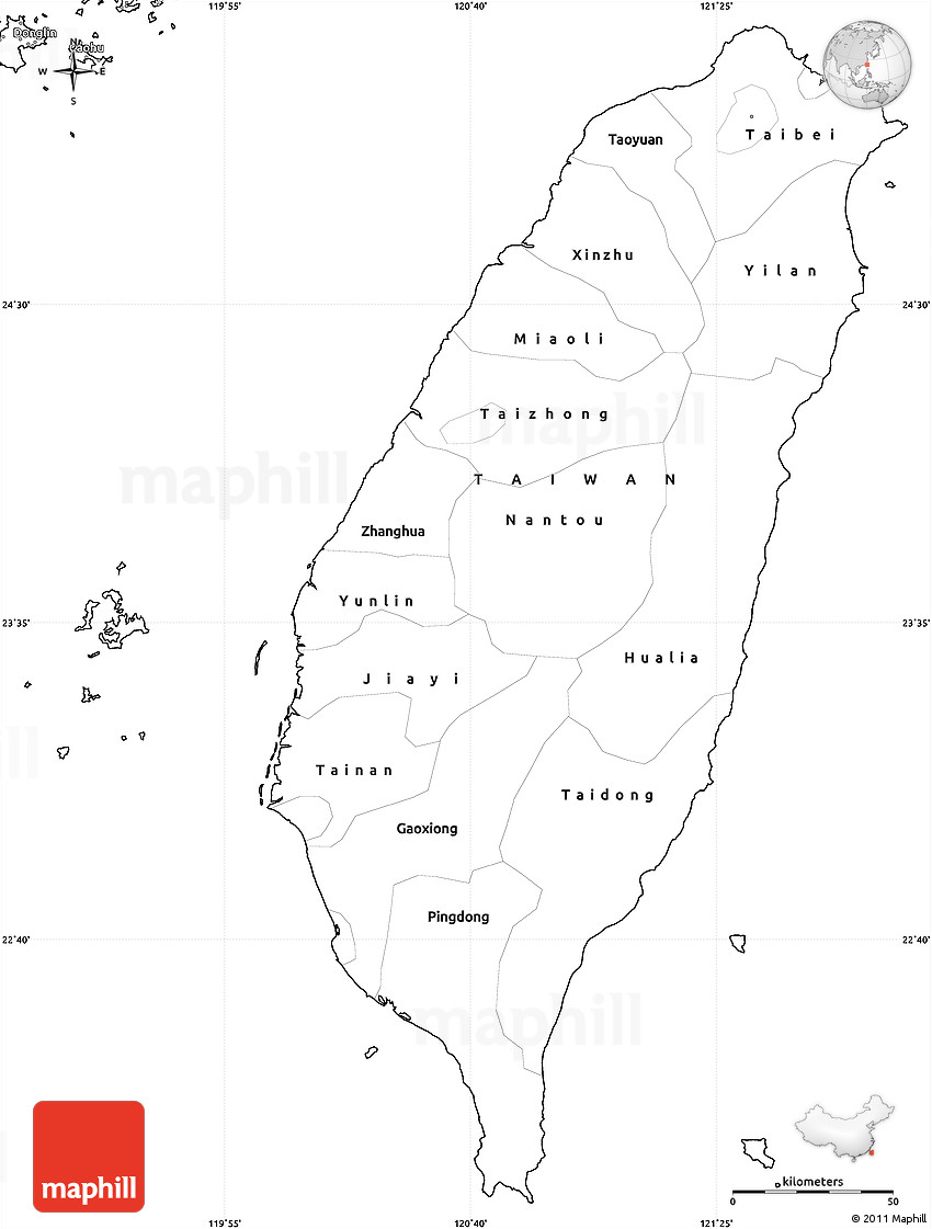 Blank Simple Map Of Taiwan