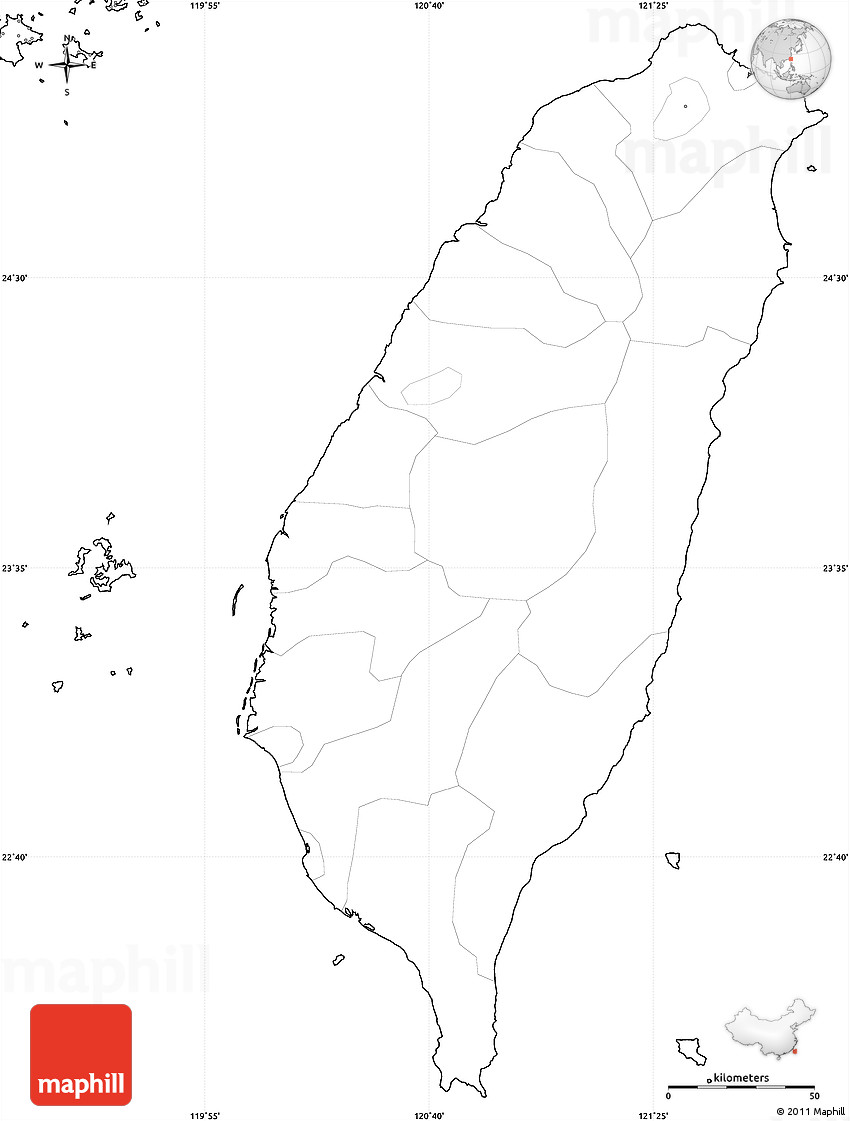 Blank Simple Map of Taiwan, no labels