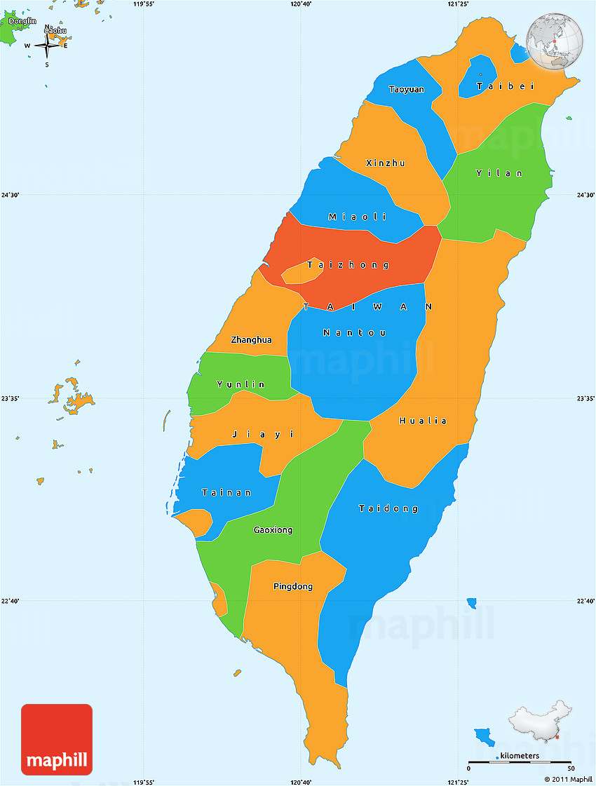 Political Simple Map of Taiwan