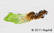 Physical Panoramic Map of Taizhong, cropped outside